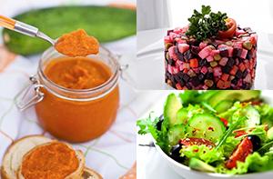 Салаты из свежих овощей, фруктов , икра кабачковая, винегреты
