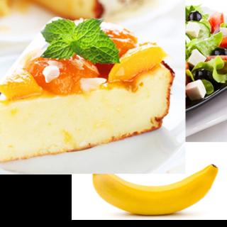 <ol>  <li>Яично— твороженная запеканка ( 6 яиц, 150гр творога )</li>  <li>Салат из помидор, огурцов, листьев салата, льняное масло</li>  <li>1 банан</li> </ol>