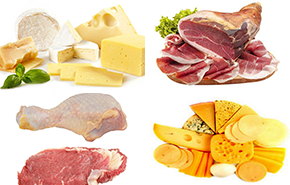 Жирные сорта мяса и твердые сорта сыра