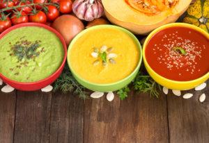 Овощные, протертые супы, супы-пюре и крем-супы, молочные супы пополам с водой.