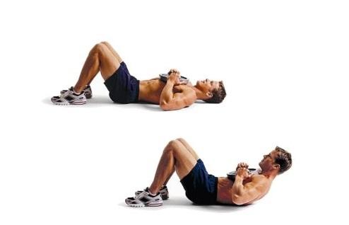 Скручивания с удержанием веса на груди